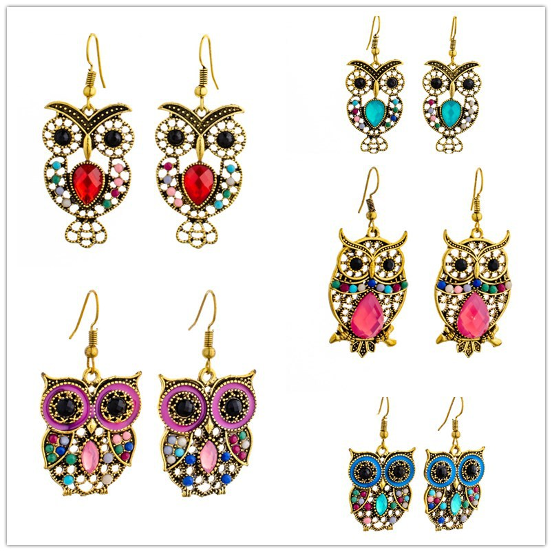 Fashion Statement Korean Version Of The Owl Pendant Earrings For Woman Shiny Crystal Animal Shape Zinc Alloy Jewelry New Hot
