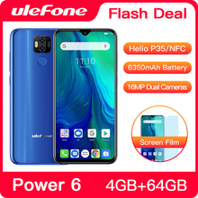 "Ulefone כוח 6 Smartphone אנדרואיד 9.0 Helio P35 אוקטה core 6350mAh 6.3 ""4GB 64GB NFC טלפון סלולרי 4G הגלובלי נייד טלפון אנדרואיד"