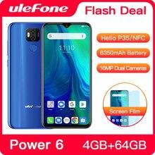 Смартфон Ulefone Power 6 с Android 9.0, восьмиядерный Helio P35, 6350 мА/ч, 6,3 дюйма, 4 Гб, 64 Гб, NFC, 4G сотовый телефон с глобальной прошивкой