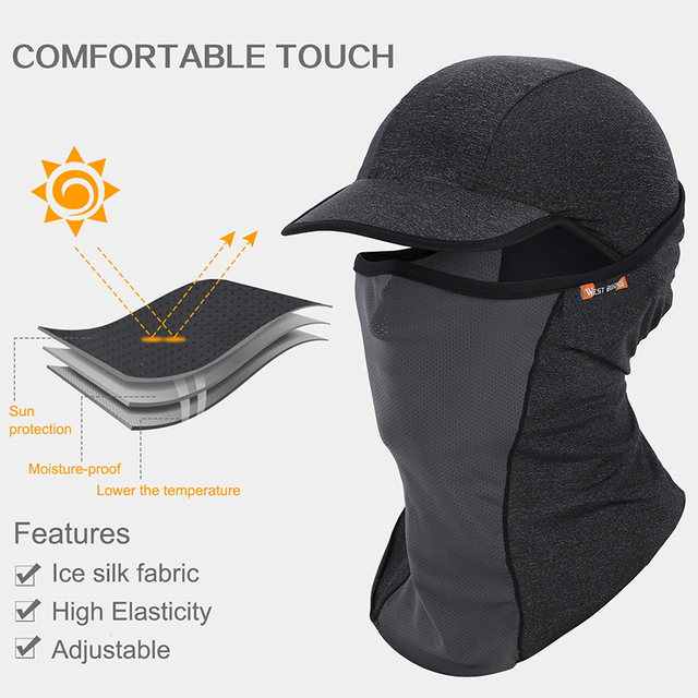 WEST BIKING Summer Cycling Full Face Mask Hat Skin Cool Ice Silk Breathable UV Protection Sports Mask Camping Hiking Bike Cap 1