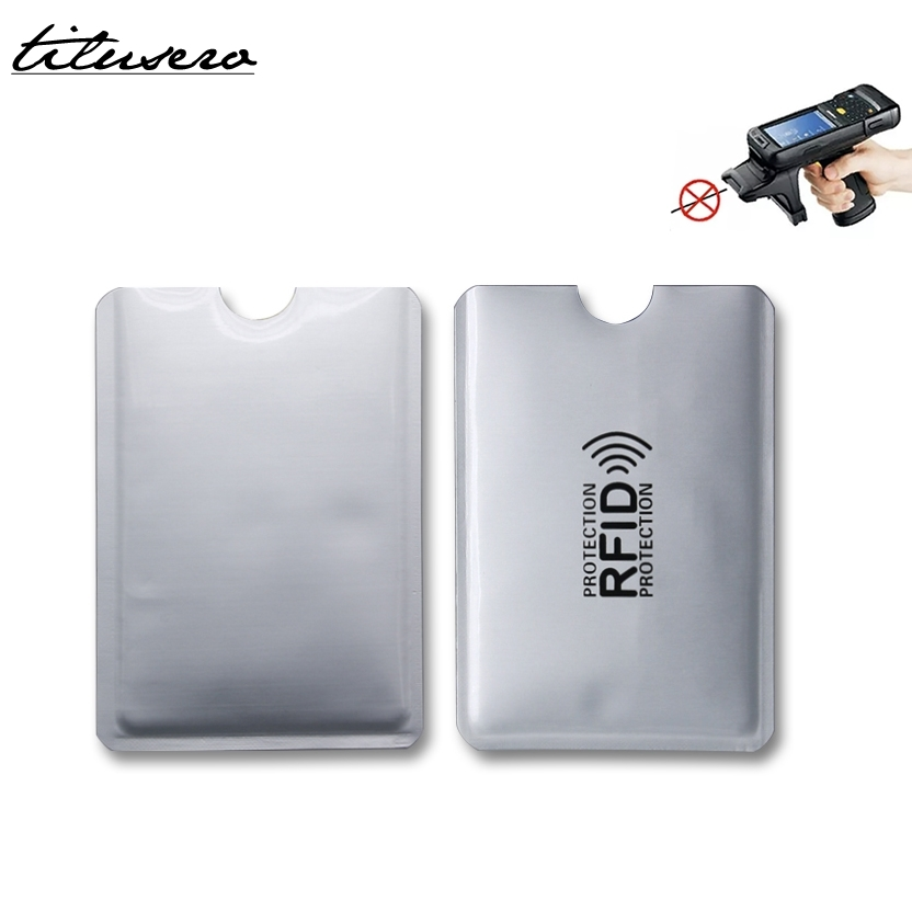 5pcs Anti Rfid Card Holder Wallet NFC Blocking Reader Lock Id Bank Card Case Protection Metal Credit Card Holder Aluminium F050
