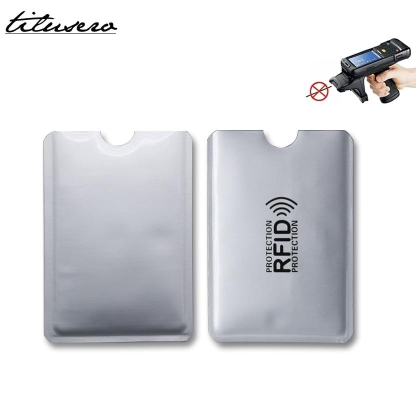 5pcs Anti Rfid Card Holder Wallet NFC Blocking Reader Lock Id Bank Card Case Protection Metal Credit Card Holder Aluminium F050