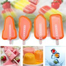 Forma sorvete caseiro inovador, vara de silicone 4 pçs/set molde de sorvete caseiro forma de picolé