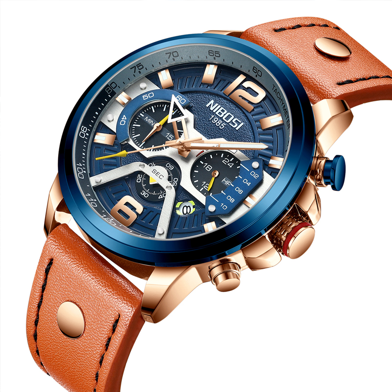 NIBOSI Chronograph Men Watch Sprots Watch Men Leather Strap Waterproof Top Brand Luxury Brand 2019 Male Clock Relogio Masculino