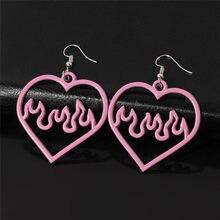 Boucles d'oreilles en forme de cœur pour femmes, 1 paire, bijoux fantaisie, Punk, Cool, cadeau, creux, à la mode