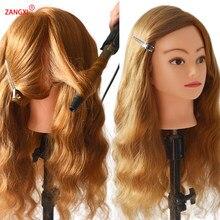 Cabeça de manequim para prática de cabelos, cabelo 80% humano, trança, cosmetologia, treinamento, com braçadeira grátis