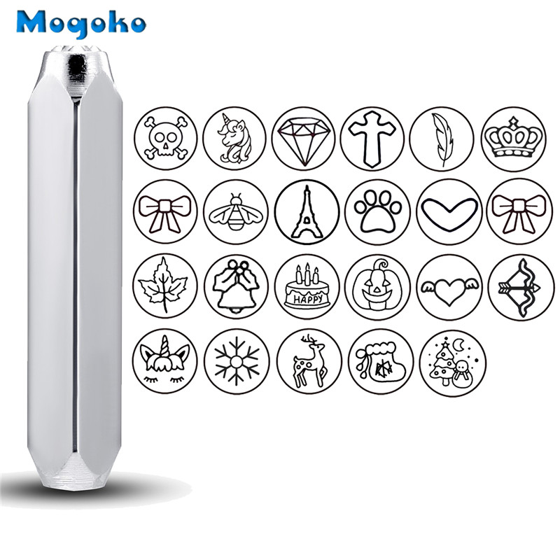 Mogoko 6mm Metal Stamp Punching Tool Aluminium Leather Unique Marking Symbol Punching Stamps Tools Craft for Punches Stamping