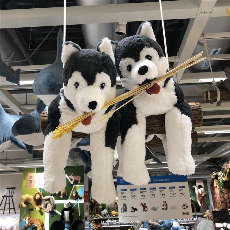 Cute Plush LIVLIG Husky Dog Toy Pillow Stuffed Siberian wolf Long Plush Lifelike Dog Doll toys Birthday Gift for Kids