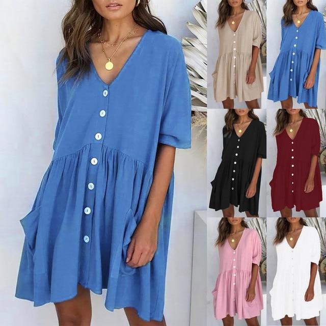 Women's Fashion Casual V-Neck Solid Short Sleeve Button Pocket Short Dress vestido de mujer summer dress платья для женщин 1