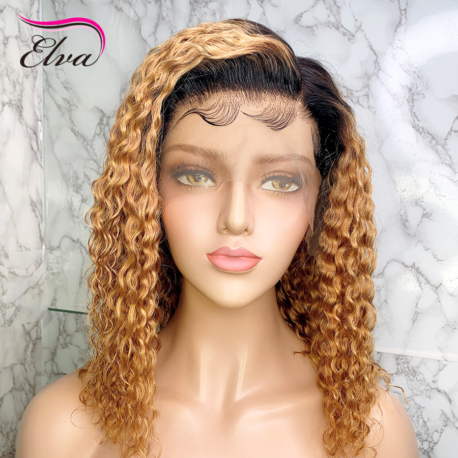 Elva T1b/30 Short Bob Lace Front Human Hair Wig With Baby Hair For Black Women Remy 13x6 Brazilian Water Wave Lace Front Wig