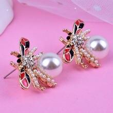 Boucles d'oreilles pour femmes, boucles d'oreilles avec animaux et abeilles, bijoux à clous en perles, de mariage, tendance, en alliage, uniques en or, 2019