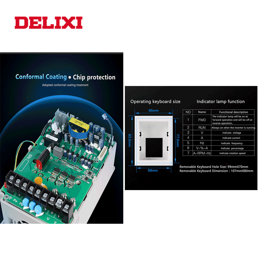 Image 5 - DELIXI AC 220V 0.4KW/0.75KW/1.5KW/2.2KW single phase VFD inverter drives for motor Speed Control 50/60HZ DC frequency converter-in Inverters & Converters from Home Improvement