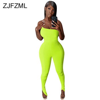 Neon Green Split Hem Fitness Bodysuit Women Summer One Shoulder Sleeveless Jumpsuit Streetwear Ladies Backless One Piece Outfits one shoulder buttoned split sleeve bodysuit