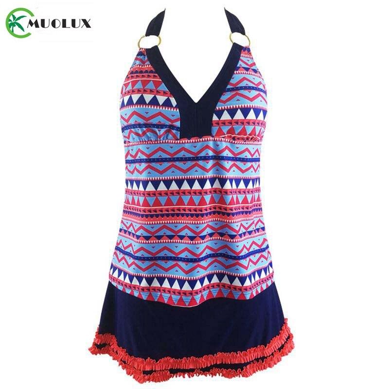 MUOLUX Lace Print Plus Size Swimsuit Women Swimwear Female Tankini Swimsuit Skirt Two Piece Bathing Suit Dress Swimsuit XXL 2019