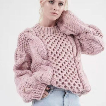DUOUPA 2019 European New Handmade Woven Hemp Pattern Loose Round Neck Pullover Sweater Female Sweater Temperament Lady Pullover woven tape side heathered graphic pullover