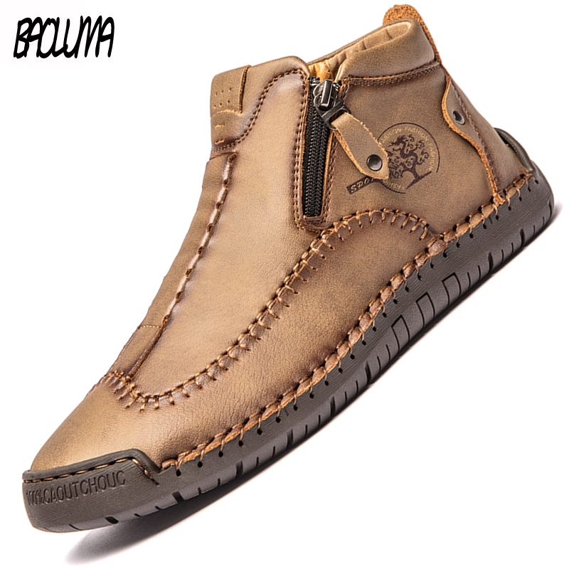 Brand Men's Boots Fashion Mens Ankle Boots Outdoor Waterproof Men Platform Boots Leather Casual Shoes Designer Zapatos De Hombre