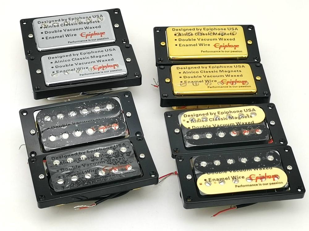 1 Set Original Epi LP Standard SG Electric Guitar Alnico Bar Humbucker Pickup Chrome Gold Black Zebra MADE IN KOREA