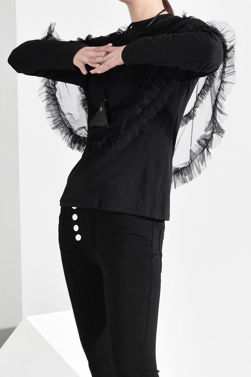 New Fashion Style Black Mesh Ruffles Split Temperament T-shirt Fashion Nova Clothing