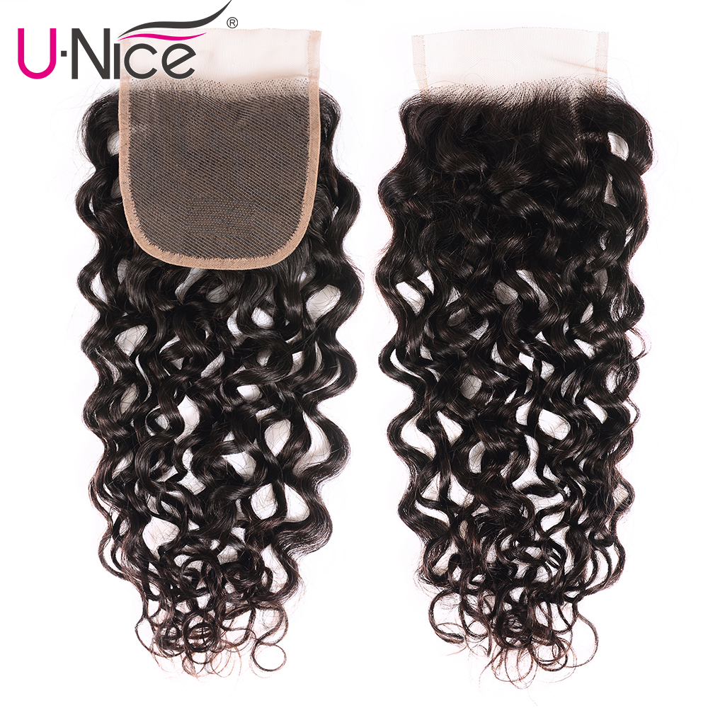 UNice Hair Brazilian Loose Water Wave 4x4 Closure Swiss Lace Free Part Remy Human Hair Lace Closure 1 Piece 10