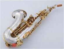 BULUKE saxo Soprano curvo 9937 saxo de latón plateado, níquel, parches de boquilla, cañas, cuello doblado