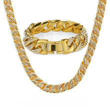 Heavy Miami Cuban Chain Full Rhinestone Bracelet Necklace Set Gold Silver 14.5mm 8 Choker for Mens Hip hop Iced Out Necklaces