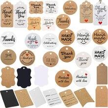 Étiquettes de remerciement avec nous, étiquette de remerciement vierge, en papier Kraft blanc noir, faite à la main avec étiquettes d'amour pour carte cadeau