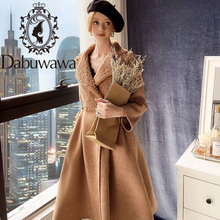 Dabuwawa Wol Bont Winter Jas Vrouwen Lange Mouw Elegante Knop Vrouwelijke Fit En Flare Uitloper Coat Herfst Streetwear DT1DLN015