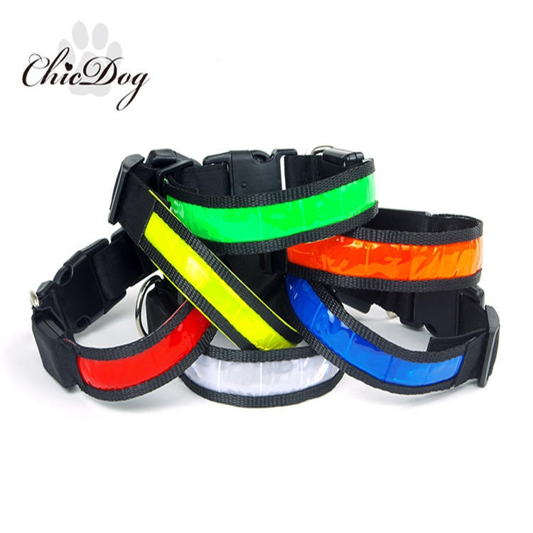 Pet Supplies Luminous Collar Nylon Material Waterproof Dog Neck Ring LED Shining Collar Ye Quatrend