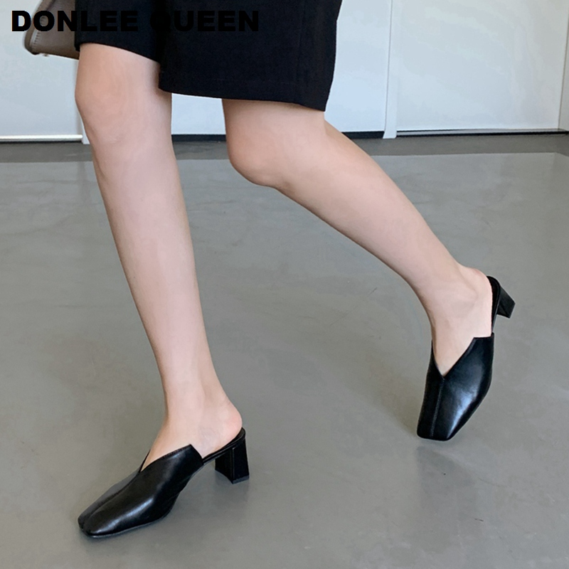 2020 New Fashion Square Toe Slippers Women Square Heels Mule Slip On Slides Female Work Shoes Women Brand Outdoor Slipper Sandal