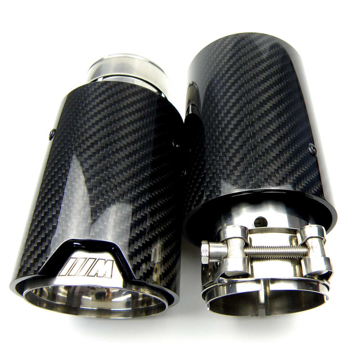 1pcs Universal M LOGO Carbon Fiber Exhaust tips For Performance Car