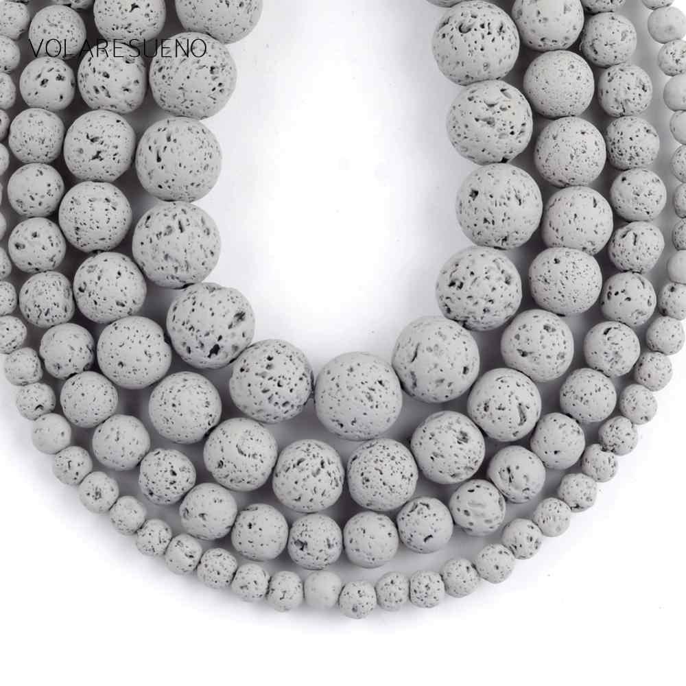 Naturalny szary hematyt kamień lawowy kule do tworzenia biżuterii 4-12mm Spacer luźne koraliki Fit Diy bransoletka akcesoria Strand 15''