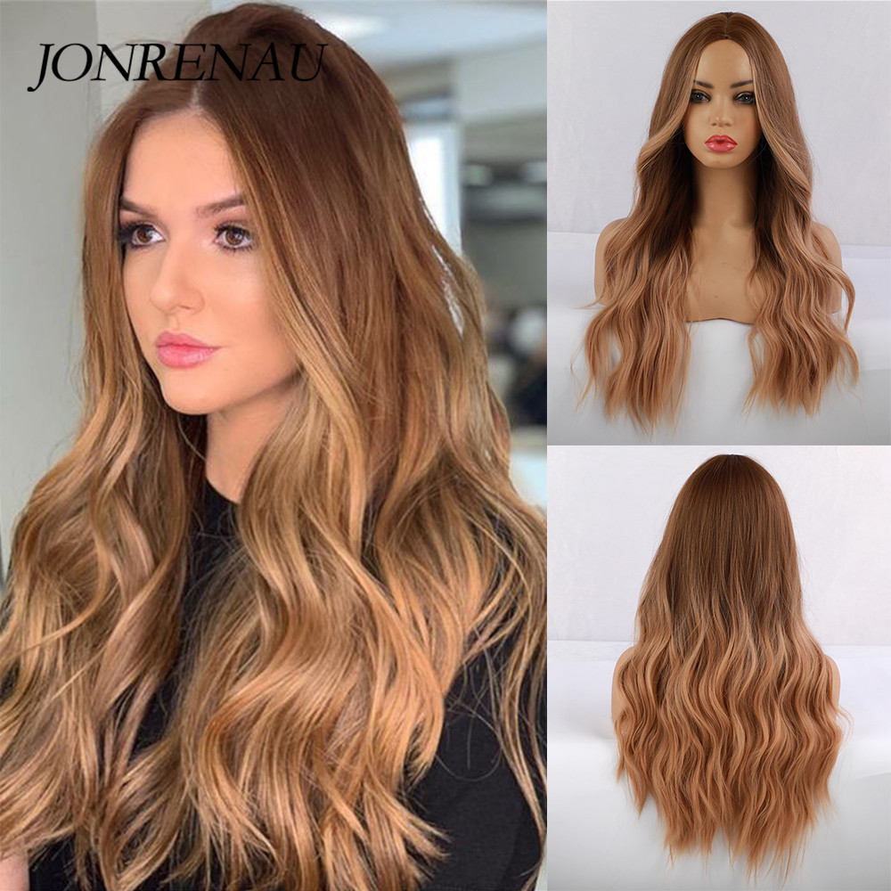 JONRENAU Synthetic Ombre Brown To Golden Blonde Wig Long Natural Hair Wigs For White/Black Women Party Or Daily Wear