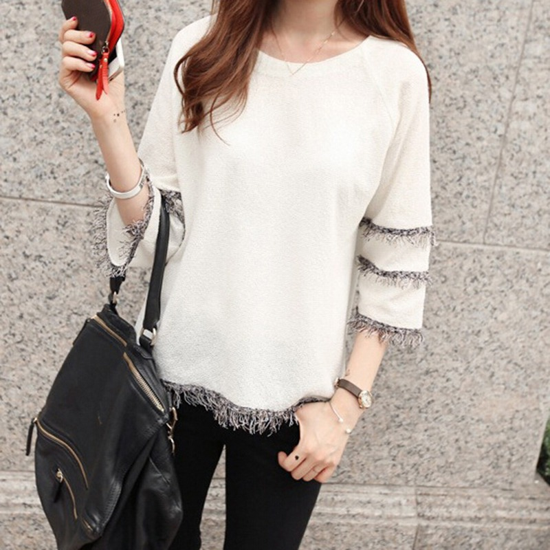 Women Tee Sweet O Neck Solid Casual Tassel T shirt For Women Loose Simple Ladies Short Sleeve Summer White Women 39 s Top Twill in T Shirts from Women 39 s Clothing
