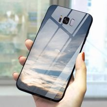 Phone Case For Galaxy S9 Cloudy Space Tempered Glass Cover Note 8 9 10 S7 Edge S8/S9 Plus S10 A10/20/30/40/50/60/70 M40(China)