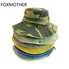 FOXMOTHER New Gorro Camouflage Bucket Caps Hunt Fishing Outdoor String Hunting Hats