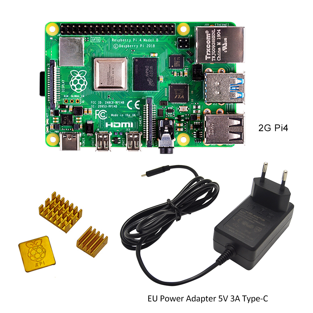 Original Raspberry Pi 4 Model B Development Board 2GB RAM +EU/US Power Adapter 5V 3A Type-C Power Supply + Heatsink+32G SD Card