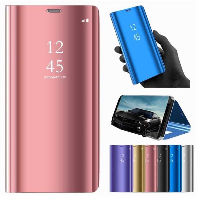 luxury Mirror Case For huawei y9 prime <font><b>2019</b></font> <font><b>y5</b></font> y6 2018 y7 pro stand Flip case on huavei huawe <font><b>huawey</b></font> y 5 6 7 9 cover book coque image