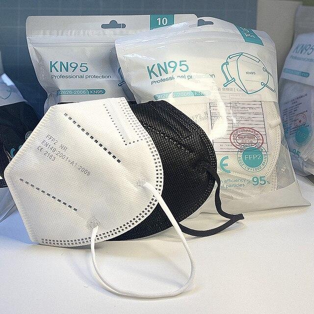 10-100 Pieces KN95 Black Masks 5 Layers CE FFP2 Dust Masks Face Protective Mascarillas Filter Respirator FPP2 FFP3 Reusable mask 1