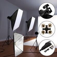 Pro Equipo de Estudio fotográfico Soft Box Kit 50x70cm Softbox Photo Box + soporte de lámpara de cuatro capas con 4 Uds 45W bombillas para fotografía