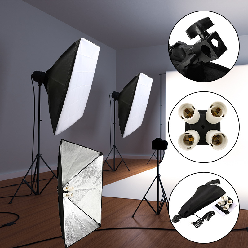 Professional Photo Studio Equipment Soft Box Kit 50x70cm Softbox Photo Box + Four-capped Lamp Holder Lighting For Photographic
