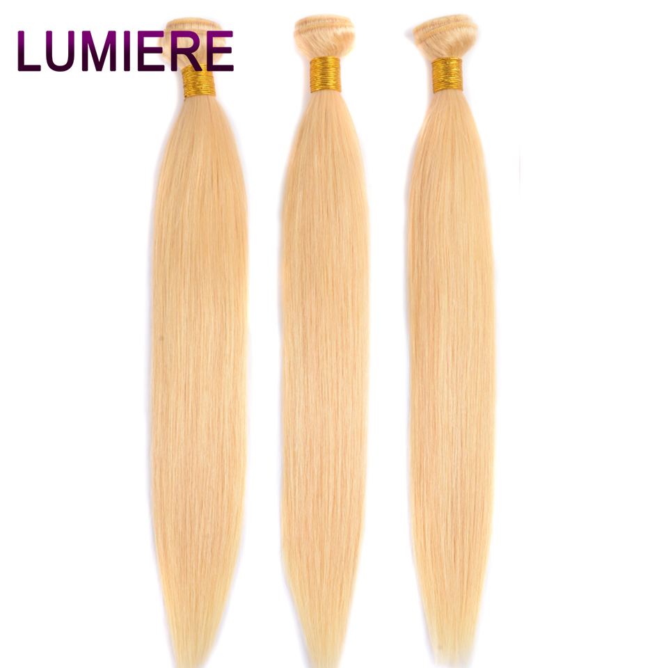 Lumiere Hair 613 Blonde Brazilian Hair Bundle Straight Weave Remy Human Hair Bundles 10-26 Inch 3 Pcs Extensions Free Shipping