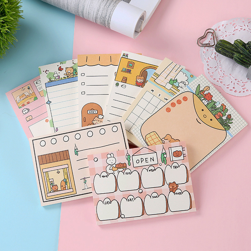 SIXONE 50 Sheets Cartoon Girl Memo Pad Korea Student Diary Stationery Plan Paper Kawaii Notebook Office & School Supplies