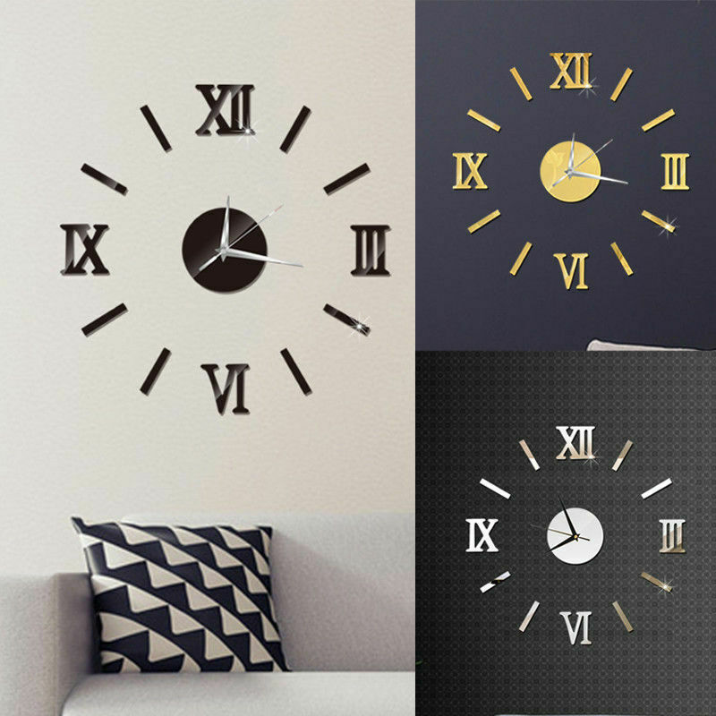 Watch Sticker Wall-Clock Numerals Mirror-Surface 3D DIY Home-Decor Roman Giant Large title=