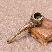 Tuyau de bouddha antique en cuivre pur, à l'ancienne, traditionnel, grands ustensiles de fumage, tuyau sec, ornements artisanaux