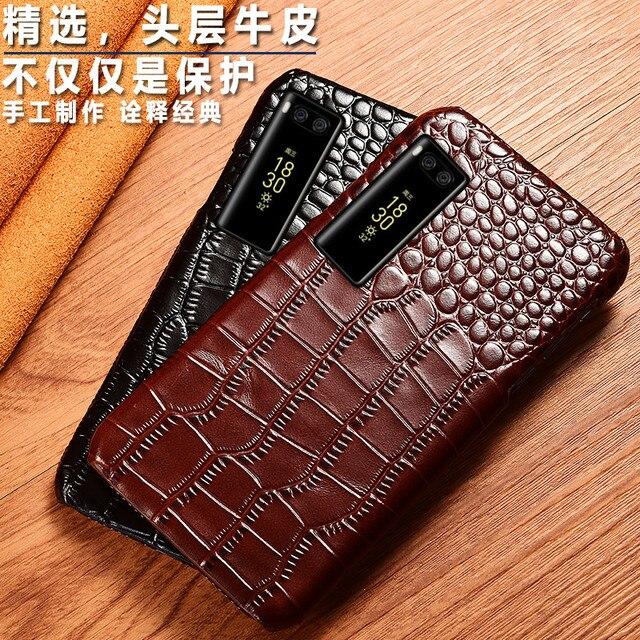 Véritable Vache en cuir Téléphone housse arrière Pour Meizu Pro 7 Pro7 Plus de Grain de Crocodile De Luxe Couverture