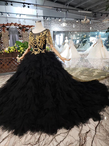 Image 3 - BGW 3222ht Black Evening Dress Long For Women O neck V back Golden Lace Cake Style Formal Dress With Detachable Train 2020
