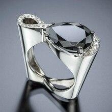 Незамкнутое кольцо для женщин и мужчин Капля воды высокоуглеродное сверло Черный Камень Роскошные ювелирные изделия Свадебные Кольца вечерние подарок Прямая CC2369