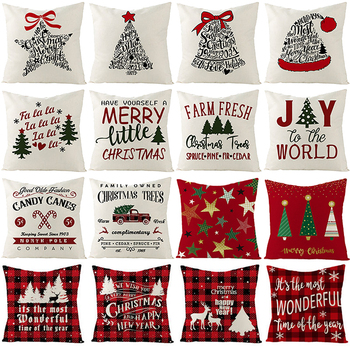 Christmas Cushion Cover 45*45 Pillowcase Sofa Cushion Pillow Case Throw Cotton Linen Pillow Cover Christmas Decoration For Home pillow cover christmas snow man home decoration