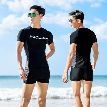 MEN'S Swimsuit Swimming Trunks Set Split Type Tops Sun-resistant Surfing Diving Suit Short Sleeve Shorts Profession Quick-Dry Sw