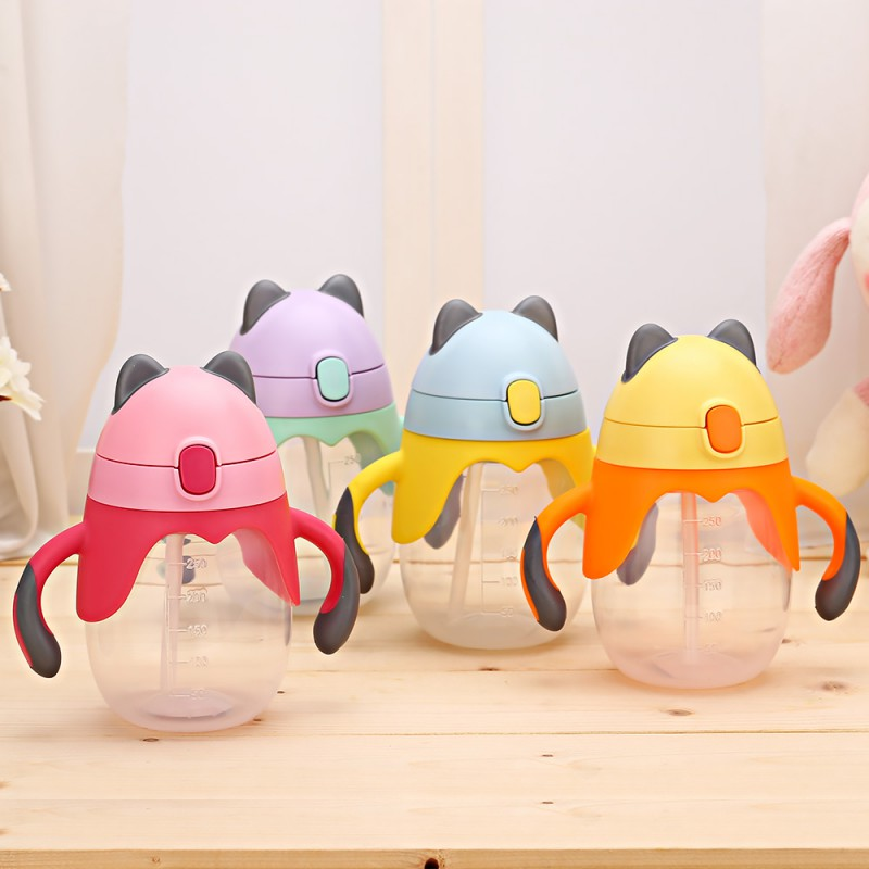 Cute Baby Sippy Cups Kids Children Learning Feeding School Drinking Water Straw Handle Bottles Training Cup Baby Feeding Cup
